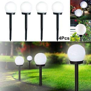 AMTSKR Ampoule solaire ronde à LED Solaire insérée au sol Blanc