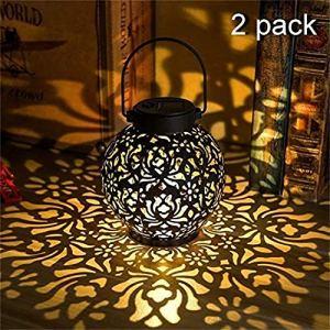 AMTSKR Lampe de projection solaire en fer forgé Portable Lampe creuse pelouse Décoration de jardin Lanterne LED