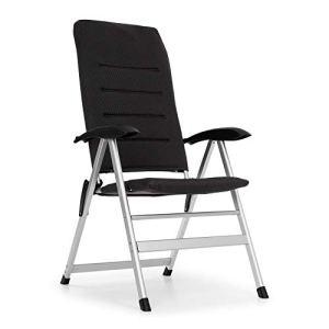 blumfeldt Almagro Garden Chair – Chaise Aluminium, Coussin en Mousse, Noir