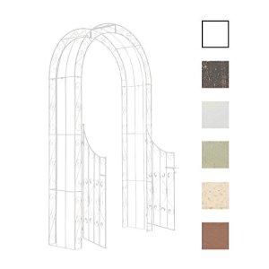 CLP Arche de Jardin avec Portillon Sina – Arceau de Jardin Romantique en Fer Forgé – Support pour Plantes Grimpantes avec Porte Style Shabby-Chic – Couleur : Blanc