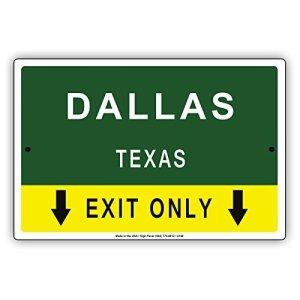 Dallas Texas Exit uniquement avec Pointeur flèche direction Way signalisation routière Alerte avertissement avertissement en aluminium plaque métal Signes vintage Tin plaques Signes décoratifs Plaque12X 18
