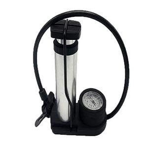 ERWEF Pompe à Pied, Pompe à air Haute Pression Manuelle Portable avec Un manomètre.160 psi à Haute Pression, soupape à Double tête (Color : Silver)