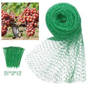Filet anti-oiseaux 4m x 10m en nylon tissé avec des attaches de câble en nylon de 100 plantes, plantes de jardin, clôtures, maille, fruits, protecteur, étangs durables pour poissons