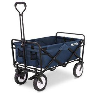 Homfa Chariot de Transport Pliable avec Freins et Chariot de Transport pour Chariot de Jardin Pliable Charge Max. 120 kg Roues Avant 360° 90 x 52 x 57,5 cm 90x52x57.5cm (BxTxH) Bleu foncé