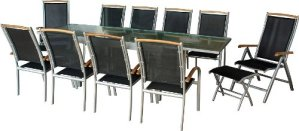 IB-Style – Salon de jardin de première classe «Diplomat-XXL» | 13-pieces | argenté – noir – teck | grande table rallonge 135-270 cm | Ensemble Terrasse Meubles de jardin chaise table alu