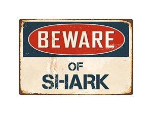 Méfiez-vous des Shark 8x 12en aluminium plaque métal Signes Boîte signalisation vintage plaques Signs decorative plaque