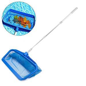 niyin204 Écumoire de piscine en filet avec poteau télescopique en aluminium, écumoire professionnel robuste en filet de nettoyage pour bassin, bain à remous et spa