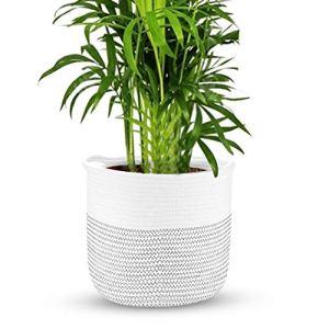 Panier de rangement en corde de coton   Panier de pot de fleurs tissé   Cache-pot d'intérieur avec poignées   Panier à linge   M&W