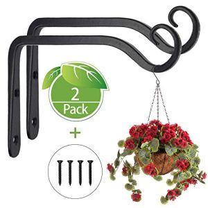 Paquet de 2 crochets de suspension muraux noirs, supports de panier suspendu en fer forgé en métal, support de panier suspendu pour mangeoires à oiseaux/plantes/lanternes/carillons éoliens (avec vis)