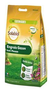Solabiol SOGAZMOU350P Engrais Anti 14 Kg Double Action : reverdit Le Gazon et élimine la Mousse, Puissant