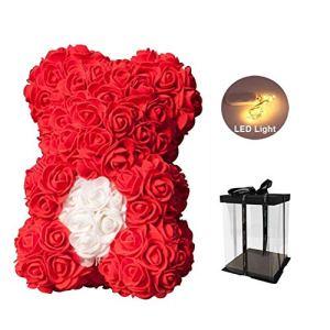 Sunshay Ours Rose, LED Rose Teddy Bear Fleur Artificielle Ours avec Unique Coeur Teddy dans Une boîte Cadeau, Cadeau d'anniversaire Cadeau mère Cadeau Saint Valentin