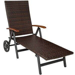 TecTake 800722 Chaise Longue de Jardin Pliante en Résine tressée et Aluminium, Dossier inclinable sur Plusieurs Positions – Plusieurs Coloris – (Marron | no. 402219)