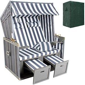 TecTake Chaise cabine de plage + housse de protection + 2 coussins – diverses couleurs au choix – (Gris/Blanc | no. 400636)