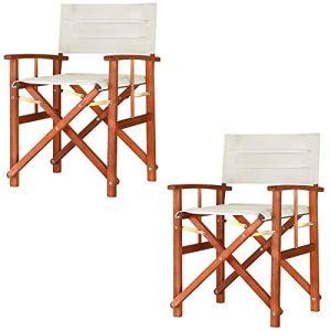 2X Chaises de régie – Chaise de metteur en scène – Chaise Pliante en Bois Eucalyptus FSC® crème Jardin Maison