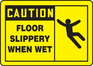 Accuform»Caution Floor Slippery When Wet» Safety Sign, Accu-Shield, 7 x 10 Inches (MSTF622XP)