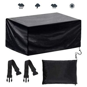 Anpro Housse de Protection Bâche Housse Salon de Jardin Rectangulaire Imperméable Anti-poussière Antisolaire En PE Pour des Meubles de Jardin Rectangulaire Epaisseur de 0.16mm,200x160x70cm-Noir