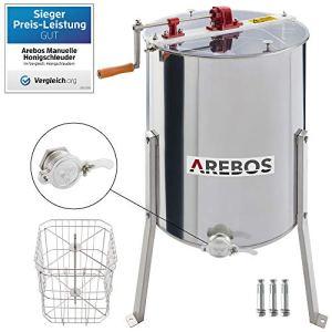 Arebos Extracteur De Miel Manuel 4 Cadres En Acier Inoxydable