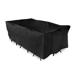 Basong Housse de Protection Bâche Couverture Jardin pour Meuble Barbecue Extérieur Rectangulaire Anti-UV Anti-Pluie Anti-Poussière Noir 242*162*100CM