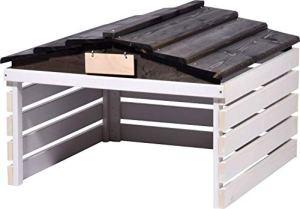 dobar 56192e Garage de Tondeuse avec Toit Amovible pour Voiture 78,5 x 74 x 52,5 cm en épicéa Blanc/Noir
