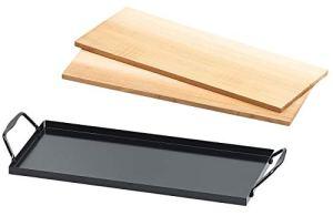 Ensemble de 2 planches à fumer en bois de cèdre avec plaque en métal [Rosenstein & Söhne]