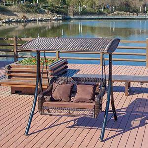 FEFEFEF Hamac extérieur hamac en rotin Bambou Chaise à Bascule Park Loisir Double Soleil
