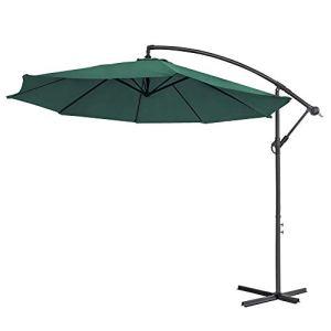 LARS360 Parasol de jardin en aluminium Ø 350 cm Protection UV40+ Vert sans LED solaire.