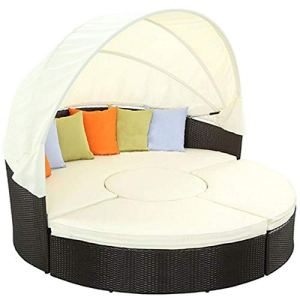 LIN-RLP Jardin rond de jardin de bord de piscine de pelouse extérieure de meubles de patio avec le daybed rond en rotin en osier escamotable, l'allocation des places sépare les sièges coussinés / 71in