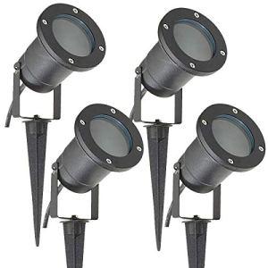 Long Life Lamp Company Lot de 4 Éclairage extérieur à piquer – Spot GU10 IP65 Noir mat