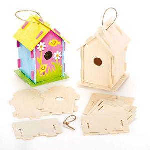 Lot de 2 Kits «Maison à Oiseaux en Bois» à monter, décorer et personnaliser.