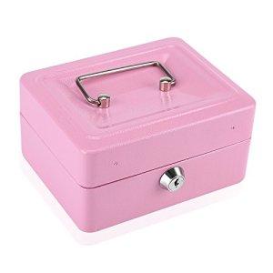 Mini Coffre de Sécurité Coffre-fort Boîte de Rangement pour Médicaments Boîte à Billets en Acier Inox avec des Clés 15 x 12 x 7,5 CM ( Couleur:Rose )