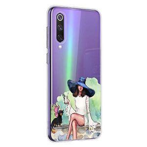 Oihxse Coque pour OnePlus 6, Etui en Transparente Silicone TPU 3D Protection Bumper Ultra Mince Cristal Housse avec Motif Fille D'Ete Mer Anti Choc Cover (A1)