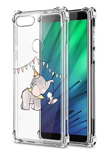 Oihxse Crystal Coque pour Xiaomi Redmi 6 Pro/A2 Lite Transparent Silicone TPU Etui Air Cushion Coin avec Motif [Elephant Lapin] Housse Antichoc Protection Bumper Cover (A12)