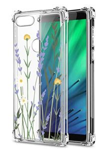 Oihxse Transparent Coque pour Xiaomi Redmi 7 Souple TPU Silicone Protection Etui Air Cushion [Shock-Absorption] [Anti-Rayures] Fleurs Motif Housse Bumper (B18)