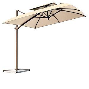 Parasol de Jardin Parasol de Jardin extérieur, Alliage d'Aluminium Parapluie à manivelle Double Top Design Offset Terrasse Cantilever Parasol Imperméable Protection UV, Style Moderne
