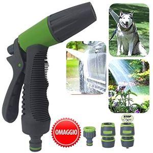 Parpyon® Pistolet pulvérisateur à eau pour jardin, pulvérisateur à pression réglable, lance pour tuyau d'eau, kit de jardinage, tuyau d'eau, tuyau d'arrosage + raccords offerts