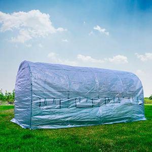 PNI Serre de Jardin SG500 Taille 457 * 210 * 210 cm, Structure en Acier Massif, fenêtres avec moustiquaires, Fermeture à glissière