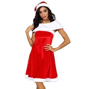 Robe de Noël pour femme – Sans manches – Avec manches et chapeau de Noël – Robe de Noël – Sexy – Cosplay – Rouge – XXXL