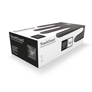TouchGuard Gants à usage unique noirs en nitrile, non-poudré et sans latex, boîte de 100, taille M