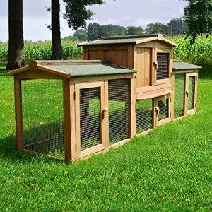 Zooprimus ❤ Cage Clapier lapin Extérieur en bois de ❤ Haute Qualité pour lapins 2,20 x 0,55 m