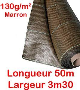 130g/m2 Toile Bache de paillage tissée Marron Anti-Mauvaises Herbes Largeur 3,3m Longueur 50m