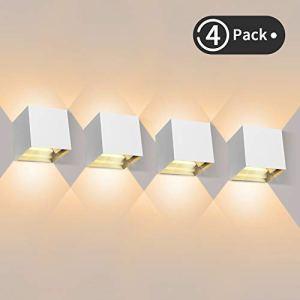 4 Pièces Applique Murale LED Exterieur 12W Appliques Murales Interieur 3000K Blanc Chaud Design Etanche IP65