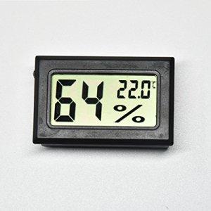 AGEG Thermomètre Digital Hygromètre Électronique Humidiomètre avec Grand Écran LCD pour Famille Bureau Usine Chenil Réservoir de Reptiles (Rectangle Noir)