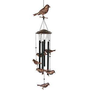 BLESSEDLAND Oiseaux Chimes-4 Tubes Creux en métal -Wind Bells et Oiseaux Wind Chime avec s Crochet pour intérieur et extérieur Noir, cuivre L 36x Dia.4.72 Pouces