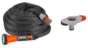Gardena Schlauch 10m Set INKL. Indoor Liano Tuyau Textile avec Adaptateur d'intérieur Noir/Orange/Gris 10 Lance Robinet