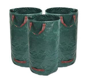 GIOVARA Lot de 3 Sacs à déchets de Jardin imperméables et résistants avec poignées Pliables et réutilisables 300 l