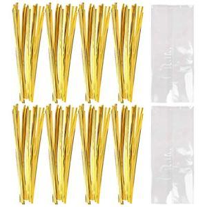 Hemoton 100Pcs Sacs de Bonbons Clairs Sacs de Cellophane Sac de Scellage de Glace à La Crème Glacée pour Cookie Cadeau Bonbons Boulangerie (12X18cm)