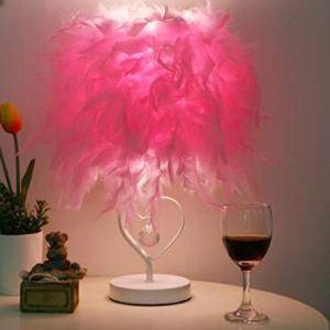 HMY Nuit Salle De Lecture Salon Salle Coeur Plume Cristal Lampe De Table pour Chambre Art Déco Lumière Planétarium Maison,C,Remote Switch