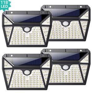 Lampe Solaire Extérieur 118 LED 4 Pack, kilponen [Lumière à 5 Côtés] Éclairage Solaire Extérieur Détecteur de Mouvement, Spot Solaire sans Fil avec 3 Modes Intelligents Lumière Solaire Étanche