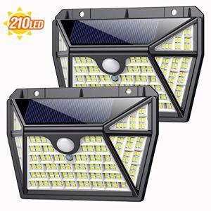 Lampe Solaire Extérieur 210 LED, AOPAWA 2 Pack éclairage Solaire 270° avec Détecteur de Mouvement étanche, Spot Solaire Extérieur 2200mAh Lumière Lampe de Sécutité Puissante sans Fil pour Jardin
