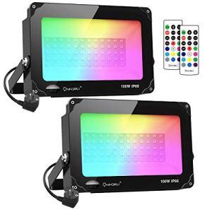 Lot de 2 RGB Projecteurs LED 100W, Lampe Couleur Multicolore Réglable avec Télécommande, IP66 Étanche, Décor Ambiance Éxtérieur Dimmable, Spot RVB avec Minuterie pour Jardin Soirée Fête